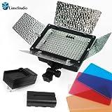 Kit de iluminación para fotografía de estudio 200 LED Barndoor LimoStudio    y kit de 4 filtros de color para luz de cámara con barería AGG1045