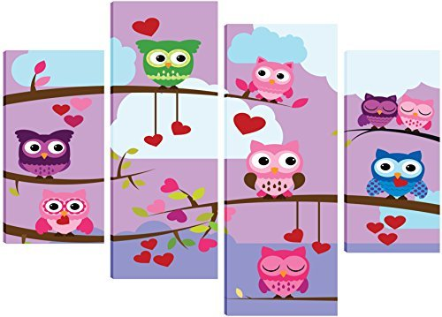 a-stunning-owl-canvas-on-a-purple-backround-canvas-art-for-children-4-split-panel-design-71cm-x-101c