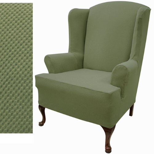 Wing Sofa Slipcover Stretch Pique Balsam Green 708