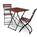 Biergartengarnitur 1x Tisch 70x70 cm & 2x Stuhl EuroLiving Edition-Classic kastanie/schwarz