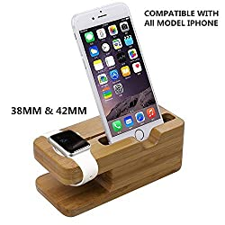 Apple Watch Stand, Coeuspow Bamboo Wood Apple Watch Stand Bracket Docking Station Charger Holder for Both 38mm and 42mm, Iphone 6/6plus/ 5s/5/5c Charging Station and Dock Multi Device Cord Organizer Stand and Charging Station