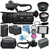 JVC GY-HM170UA 4KCAM Compact Professional Camcorder with Top Handle Audio Unit + BNV-F823 Replacement Lithium Ion Battery + External Rapid Charger + JVC QAN0067-003 Microphone Bundle