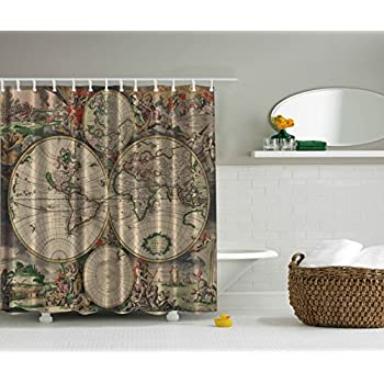 Shower Curtain Antiques Old World Map Globe Art Lounge Decor Antique Traditional Ancient Antiqued Look Treasure Ocean Vintage Educational Print Polyester Fabric Shower Curtain Beige Green Gray Orange