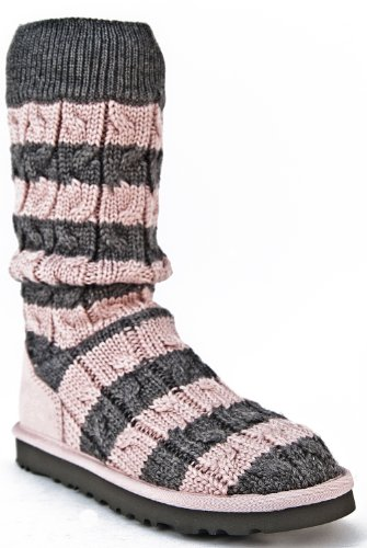 0c22c532cfa Pink and Grey Striped Cable Knit Ugg Boots Uggs Size 5 | Everything ...