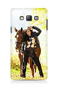 Amez designer printed 3d premium high quality back case cover for Samsung Galaxy A7 (Equestrian with her horse in autumnal nature)