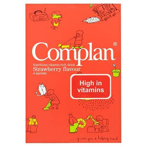 Complan Nutritious Vitamin Rich Drink Strawberry Flavour 4 x 57g Sachets