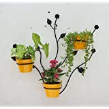 Green Gardenia Iron Leaf Wall Bracket With Metal Bucket (68 X 17 X 70, Yellow, GGWIWLP3)