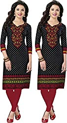 SDM Women's Kurti Printed Cotton Dress Material Unstitched Combo of 2 (P116-116, Unstitched)