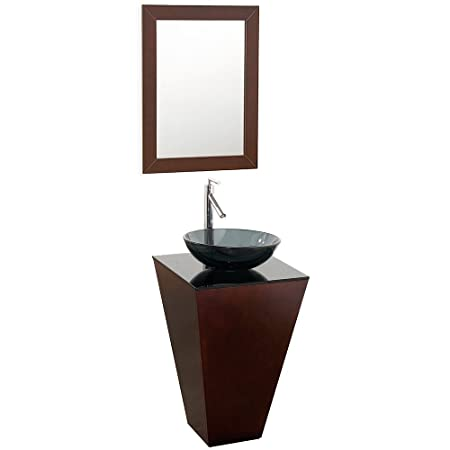 Wyndham Collection Esprit 20 inch Pedestal Bathroom Vanity in Espresso with Smoke Glass Top with Smoke Glass Sink