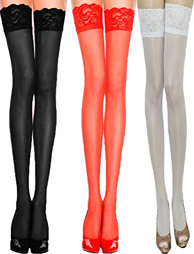 Yummy Bee Women's Sheer Suspender Stockings Lace Tops