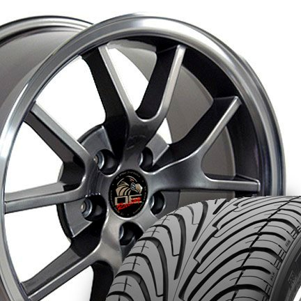 Wheel1x - FR500 Style Replica Wheels and Tires with Machined Lip Fits Mustang (R) - Anthracite18x9 Set of 4