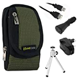 EveCase Travel Kit: Compact Zipper Case, USB Extension Cable (6 Feet), Car Charger, Wall Travel/Home Charger and Silver Mini Tripod for Sony Bloggie MHS-TS20 MHS-TS10 MHS-TS22 MHS-TS55; Cisco Flip Video UltraHD 3rd Generation(8GB/2 hr)