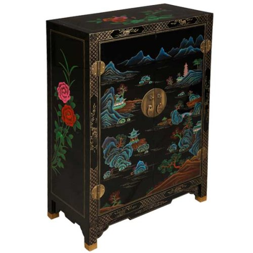 Cheap EXP Handmade Furniture – 35″ Black Lacquer Wood Storage Cabinet / End Table Lakeside Pagoda Motif (B001JI483M)