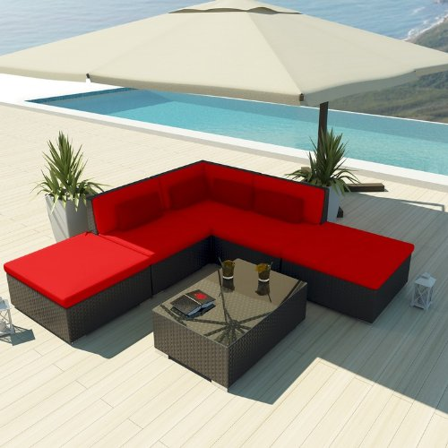 Uduka Outdoor Sectional Patio Furniture Espresso Brown Wicker Sofa Set Porto 6 Red All Weather Couch photo