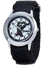 Marvel Kids' W000305 Marvel Avenger Kid's Stainless Steel Time Teacher Black Velcro Strap Watch