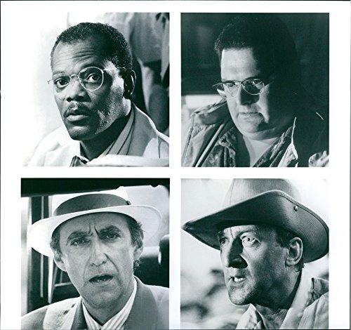 """Vintage Foto Di Samuel L. Jackson, Wayne cavaliere, Martin Ferrero e Bob Peck stelle in un 1993American Adventure film di fantascienza, """"Jurassic Park."""