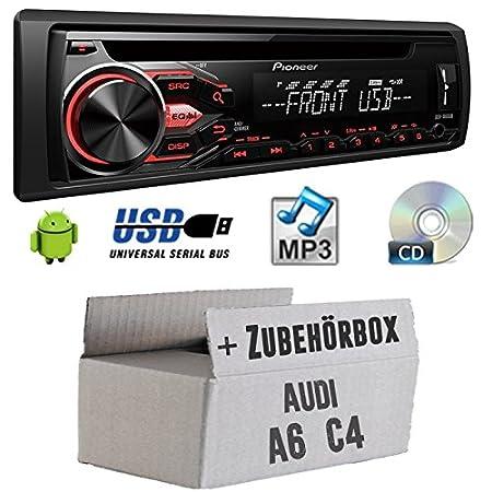 Audi A6C4-Pioneer DEH 1800ub-Kit de montage autoradio CD/MP3/USB -