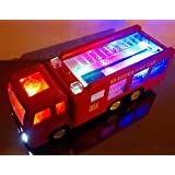 "WolVol Electric Fire Truck Toy with Lights, Sirens and Sound (""fire alarm, lets go"", ""out of my way""...), goes around and changes directions on contact (Battery Powered) - Great Gift Toys for Kids"