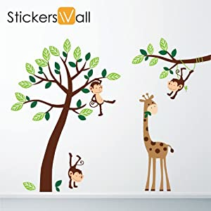 Monkey Giraffe Tree Nursery Jungle Wall Stickers