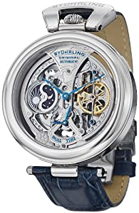 "Stuhrling Original Men's 127A.3315C2 ""Special Reserve Emperor's Grandeur"" Stainless Steel and Blue Leather Strap Automatic Skeleton Watch"