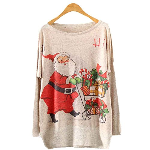 Kinghard Womens Christmas Batwing Loose Knit Sweater Knitwear Tops (E)