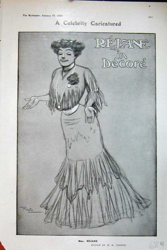 1906 Thorpe Drawing Madame Rejane Decore Theatre Lady
