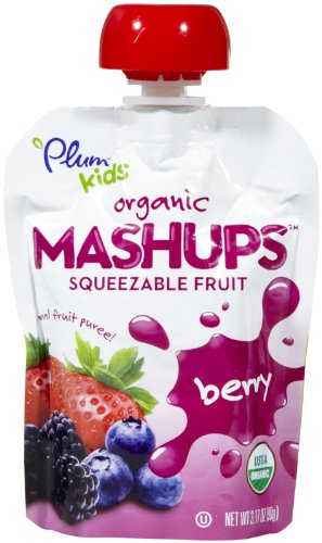 Organic Mashups, Squeezable Fruit, Berry, 4 Pouches, 3.17 oz (90 g) Ea