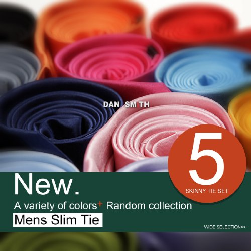 DAN10-variety-of-colors-2-Inch-Skinny-Tie-Five-Package-Gift-Set-5PT-SET-BY-Dan-Smith