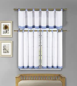 3 Piece White Kitchen Window Curtain Set