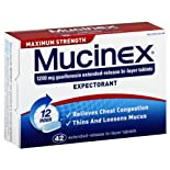 Mucinex Expectorant, Maximum Strength, 1200 mg, 12 Hour, Extended-Release Bi-Layer Tablets 42 tablets