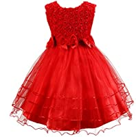 Shiny Toddler 3D Rose Petal Bowknot Flower Girl Birthday Party Tutu Dress 100% Cotton