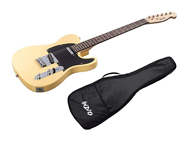 Monoprice Indio Retro Classic Electric Guitar - Blonde, With Gig Bag (Color: Blonde)