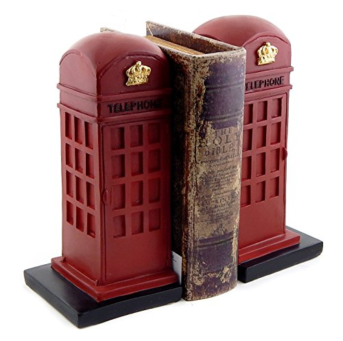 Heavy Retro British Phone Booth Metal Bookends Hand Painted