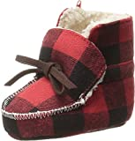 Mud Pie Baby Buffalo Check Flannel Sherpa Booties, Red, 6-12 Months