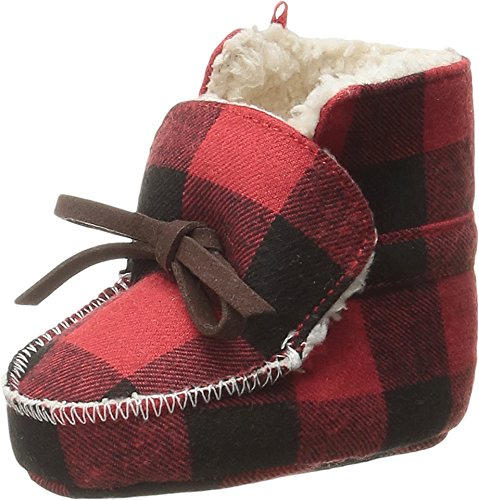 mud-pie-baby-buffalo-check-flannel-sherpa-booties-red-0-6-months