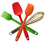Perfect Kitchen Utensils for Kids Divine Delights Silicone Cooking Utensils Gift Set, Hygienic, Durable, Non-stick, Heat Resistan, 4-piece Red Spoon, Orange Spatula, Green Brush, Colorful Whisk