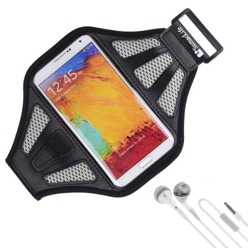 Sumaclife Armband - Black Gray Sport Workout Neoprene Mesh W/ Earphone Holder Fits Htc One M8 Android Phone + White Handsfree Microphone Headphones