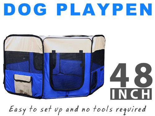 "New Deluxe 48"" Pet Dog Xl Playpen Kennel Exercise Pen Crate Blue W/Carrying Bag"