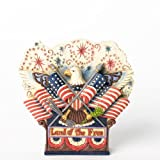 Jim Shore for Enesco Heartwood Creek Eagle with Flags and Fireworks Figurine, 4.25-Inch