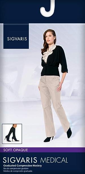 SIGVARIS Women's Style Soft Opaque 840 Closed Toe Calf-High Socks 20-30mmHg (Color: Blue Iris, Tamaño: SL - Small Long)