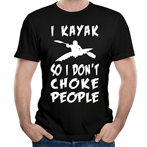 POKA Men's Newest I Kayak So I Don't Choke People Cool T-shirts Black (Choke Shirt Company compare prices)