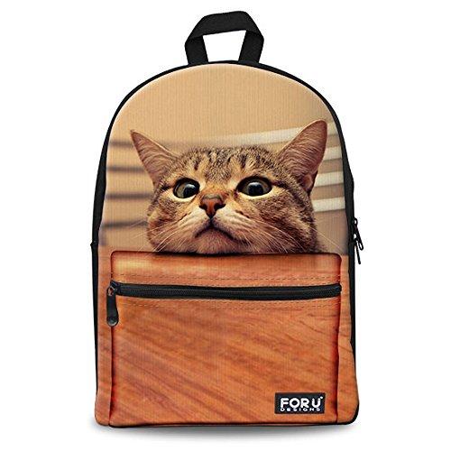 FOR U DESIGNS デイパック 15PC型対応 帆布バッグ バックパック Backpack 男女兼用 通勤通学 軽量  可愛いペット  (ネコ4)