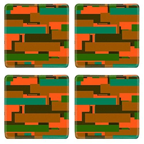 Liili Square Coasters Orange Abstract Stripes Texture 28963592