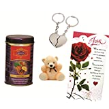Skylofts Fruit N Nut Chocolate Gift Box With A Cute Teddy, A Love Card & A Heart Key Ring