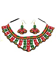 DollsofIndia Green With Red And Yellow Macrame Thread Necklace And Earrings With White Beads - Thread - White