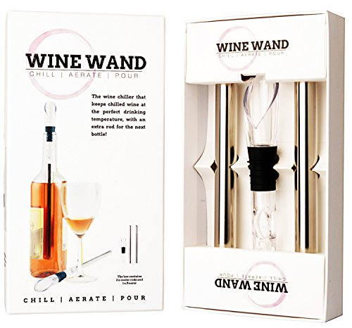 Wine Wand - the ultimate wine cooler, chiller, aerator accessory - 2 cooling / chilling wands, an aerator/pourer in each pack - wine can breathe , white, rose, red, champagne, cava, prosecco. (Dornfelder Wine compare prices)