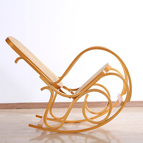 Rocking Chair Rattan Knitting Leisure Chair Vintage Living Room Furniture Conservatory Relax Bentwood Birch Easy Chair (Wood color) 3