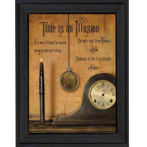 The Craft Room BJ1004-603 Time is an Illusion, Framed Script Canvas Like Print by Artist Billy Jacobs, 18x24 Inches