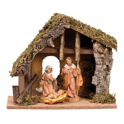 Fontanini 3 Piece 5 Inch Nativity With 9 1 2 Inch Italian Stable Home Decor