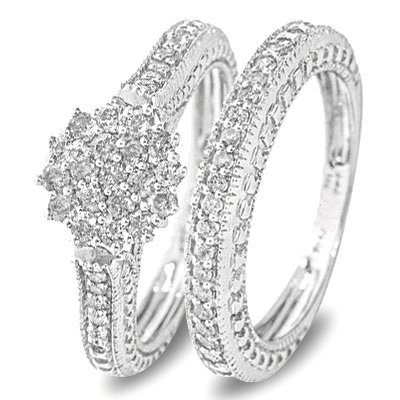 3/4 Carat T.W. Round Cut Diamond Wedding Band Set 14K White Gold - Two Rings: Ladies Engagement Ring and Ladies Wedding Band - Free Gift Box -